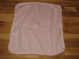 Baby Gap Pink Fleece Bird Flower & Mushroom Baby Girl Blanket - $14.84