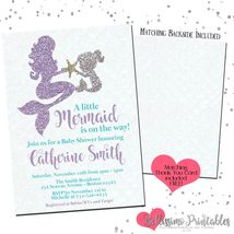 Mermaid mother child teal purple Baby Shower Invitation PRINTABLE FREE t... - £10.67 GBP