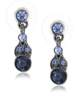 1928 Jewelry Hematite-Tone And Tonal Blue Drop Earrings - $40.45