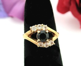 RING Vintage BLACK & Clear RHINESTONE  Split Shank Goldtone 5 1/4  Size ... - $16.99