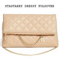 GUESS STARRY DRESSY FOLDOVER CROSSBODY/CLUTCH  COMBO COLOR:BLUSH  - $50.00