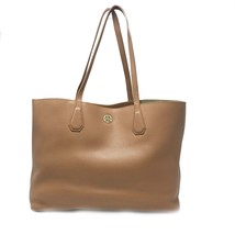 Tory Burch Bark/Light Gold Pebbled Leather Perry Tote Women's Bag - $249.00