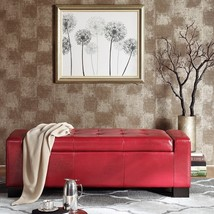 Red Mirage Faux Leather ButtonTufted Top Storage Bench - £216.30 GBP