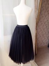"BLACK MIDI TULLE SKIRTS High Waisted Black Full Tutu Skirts -27.5""long, 24""-29""W image 3"