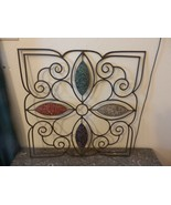 Metal Scroll Wall Art Brown Antique Finish with Red Green Clear Purple C... - $148.50