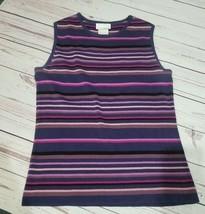 Designer originals purple sleeveless striped small tank top - $5.69