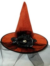 Orange Burlap Halloween Witch Hat w/ Veil Bow Skull Flower - €16,97 EUR