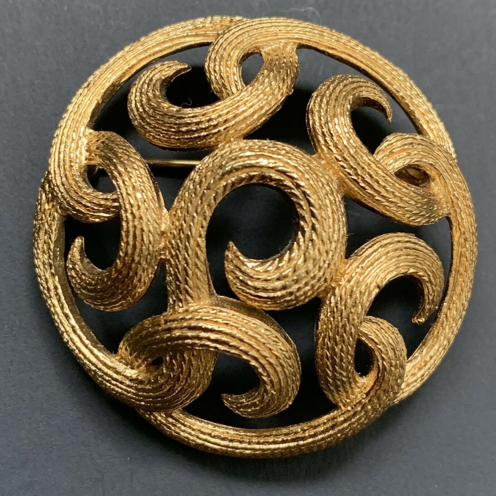 Primary image for Vintage Signed Crown Trifari Brushed Gold Tone Scroll Round Brooch Pin Open Work
