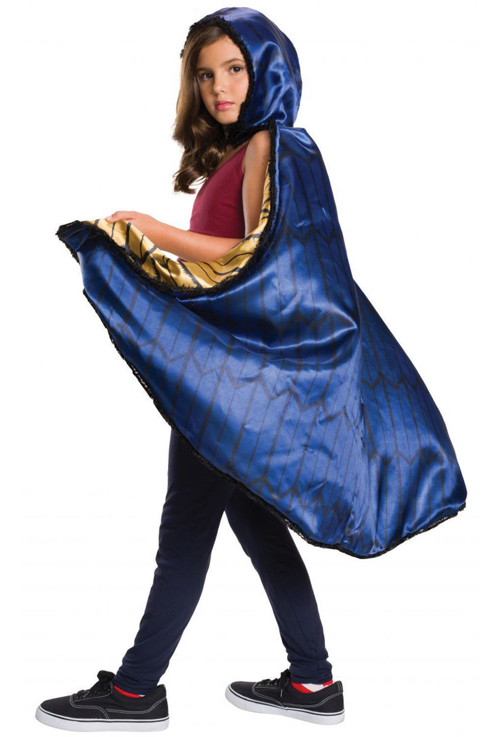 WONDER WOMAN CAPE CHILD LINED BLUE AND GOLD HOODED