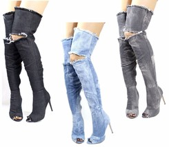 Liliana Barbara-13 Denim Thigh High Over The Knee Stiletto High Open Toe... - $19.99