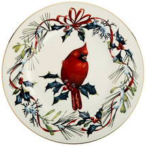 "Lenox Winter Greetings Cardinal Bird Accent Luncheon Plate 9.25"" New 1st... - $32.90"