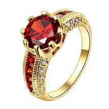 An item in the Jewelry & Watches category: Women's Engagement Ring Round Cut Red Garnet 14k Yellow Gold Plated 925 Silver
