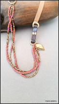Fall Leather Necklace, Pink Bead Jewelry, Leather Tribal Necklace, winte... - $35.44