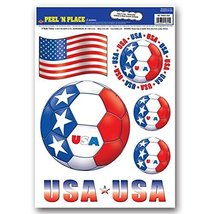 "Club Pack of 72 Red, White and Blue ""USA"" Peel 'N Place Soccer Balls and... - £48.43 GBP"