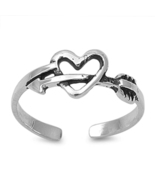 14K White Gold 925 Silver Without Stone Cupid Arrow Heart Shape Toe Ring... - $9.99