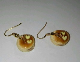 Delicious Pancake Charm Earrings Gold Tone Clay Charms Pancakes  - $6.00