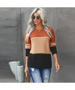 Women's contrast stitching round neck long sleeve pullover knitted sweater - $58.60