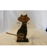 Hand Made Whimsical Wooden Cat Figurine Black and Brown Tones, Metal Tail - $18.55