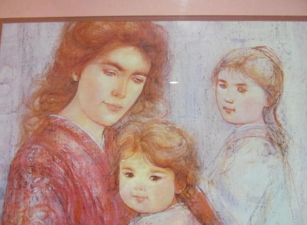 "Vintage Edna Hibel ""Mother & Children"" Lithographic Poster Art Print"