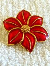 Vintage Christmas Poinsettia Flower Red Enamel Pin Brooch - $6.00