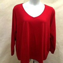 Lands End 3X Top T Shirt Red V Neck Long Sleeve Plus Size 24W 26W New - $21.54