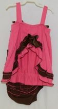 I love Baby Two piece Sun Top Ruffled Bloomers Hot Pink Brown Size 3 to4 T image 3