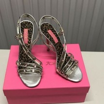 Betsey Johnson Leopard Print & Pink Studs Strappy High Heels Shoes Size ... - $38.88