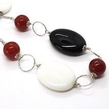 925 Silver Necklace, White Agate, Onyx, Carnelian, Chain Rolo worked image 3