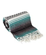 Green Large Authentic Falsa Mexican Yoga Meditaion Blanket 7'/5' Southwe... - £6.75 GBP