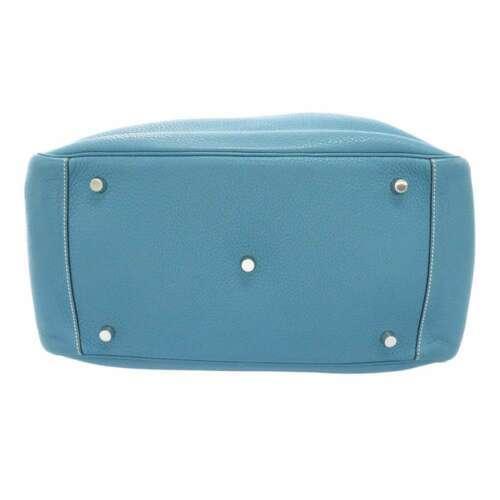 HERMES Lindy 34 Taurillon Clemence Blue Jean Handbag Shoulder Bag #Q Authentic image 4