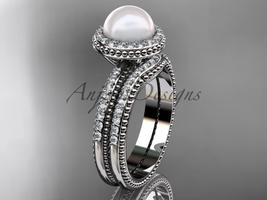 Ladies wedding ring sets pearl 14kt white gold diamond halo engagement ring AP95 - $2,095.00