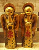 Two Vintage Gold Paper Mache Angel Figurines With Doves Christmas Decor - $14.50
