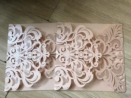 50pcs Incarnadine Bridal Invitation Cards,Laser Cut Wedding Invitation,I... - $59.20