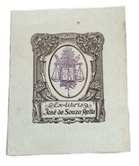 Ex Libris Exlibris Bookplate Jose De Souza Retto Scales Of Justice - $29.69
