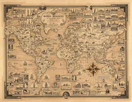 Pictorial Map World Wonders History Home Schooling Wall Poster Print Decor - $13.00+