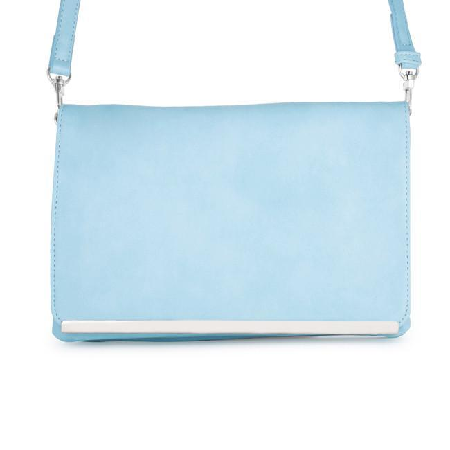 Primary image for Martha Blue Leather Purse Clutch With Silver Hardware