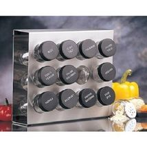 Glass Spice Jars Organizer 12Pk Stainless Steel... - $29.69