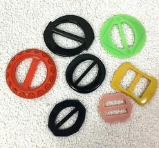 Lot of 7 Multicolored Vintage Plastic Ribbon Slide Belt Buckles - $24.26