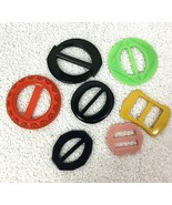 Lot of 7 Multicolored Vintage Plastic Ribbon Slide Belt Buckles - $24.26