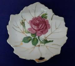 Vintage VICEROY CHINA Leaf Shaped Porcelain Trinket Dish w ROSE Motif PR... - $9.55