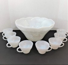Anchor Hocking Milk Glass Punch Bowl Set With 8 Matching Cups Grapevine ... - $49.99