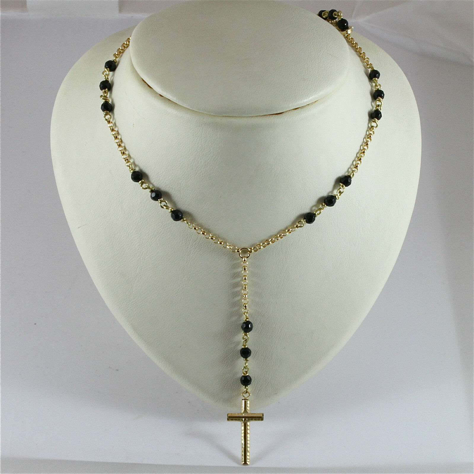 18K 750 YELLOW GOLD CROSS PENDANT, NECKLACE WITH ONYX, MADE IN ITALY