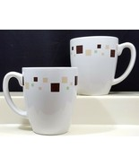 Corelle Geometric Mugs 12 oz Set of 2 White Livingware Brown Beige Green... - $11.88