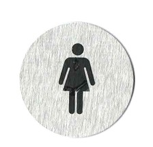 clearance brushed steel sign, ladies. with stick pad on back ideal for crafts,