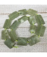 156.3g, 23mm-35mm, Green Nephrite Jade Rectangle Carved Beads Afghanista... - $12.37