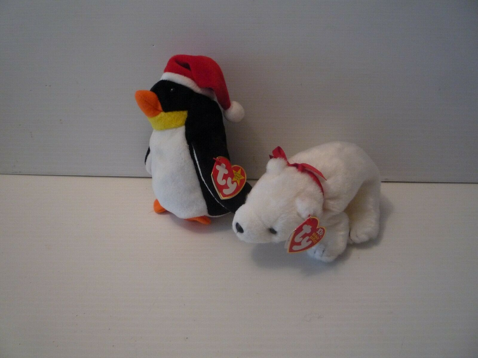 Ty Beanie Babies Christmas Penquin Zero Plush & White Polarbear Fridge MINT
