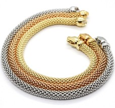 3 18K ROSE YELLOW WHITE GOLD BRACELETS 7.3 INCHES, BASKET WEAVE, 5 MM THICKNESS image 1