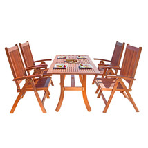 Malibu Eco-Friendly 5-Piece Wood Outdoor Dining Set V189SET4 - $727.91