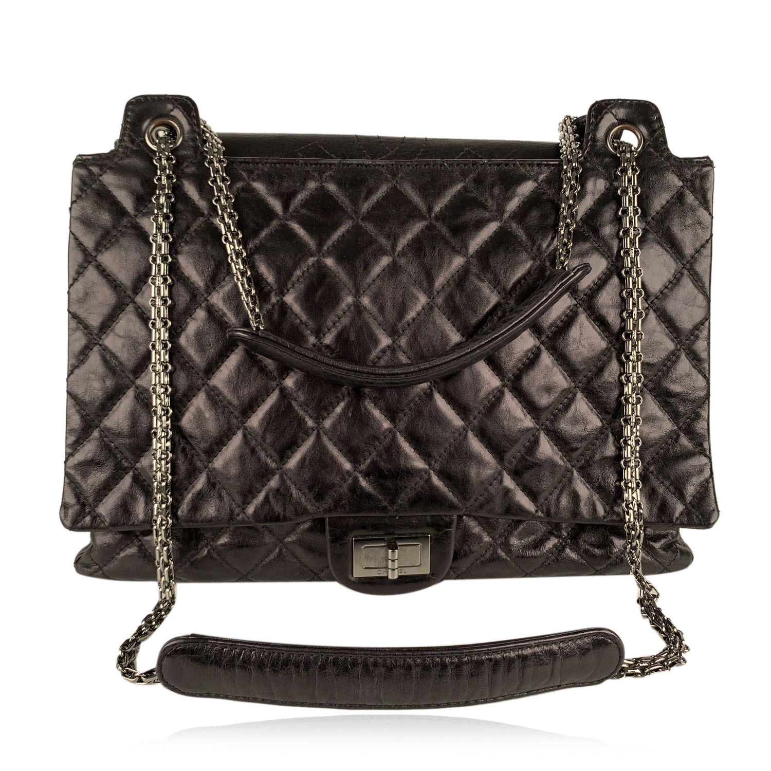 Authentic Chanel Black Quilted Leather Large Reissue 2.55 Accordion Flap Bag
