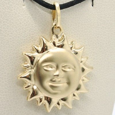 18K YELLOW GOLD ROUNDED SUN CHARM PENDANT, TWO FACES, SMOOTH SATIN MADE IN ITALY